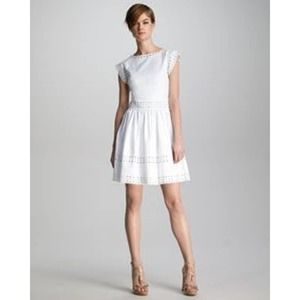 RED Valentino Pique-Knit A-Line Eyelet Dress 46